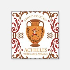 """Swift Footed Achilles Square Sticker 3"""" x 3"""""""