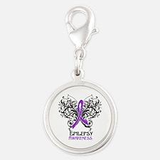 Epilepsy Awareness Silver Round Charm