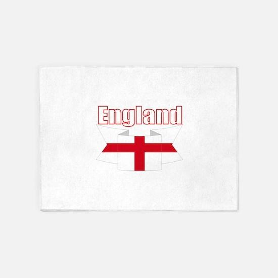 English Flag Ribbon - St George Cross 5'x7'Area Ru