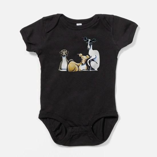 Italian Greyhound Trio Baby Bodysuit