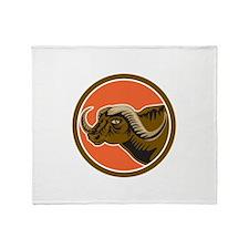 African Buffalo Head Side Circle Retro Throw Blank