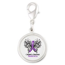 Crohns Disease Awareness Silver Round Charm