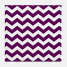 Eggplant Chevron Pattern Tile Coaster