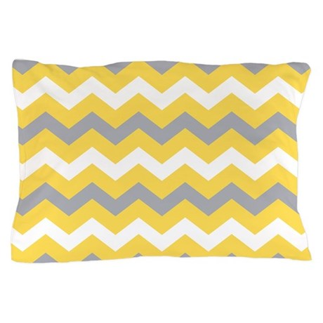 Yellow Gray Chevron Pattern Pillow Case by printcreekstudio