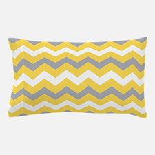 Yellow Gray Chevron Pattern Pillow Case