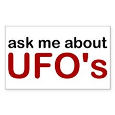 Ask Me About UFO's Rectangle Decal
