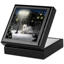 WEST HIGHLAND TERRIER DOG SNOW CITY Keepsake Box