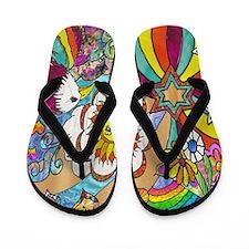 Psychedelic Sunshine Art Flip Flops