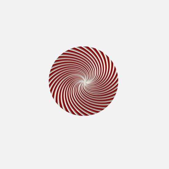 Red Peppermint Swirl and Shadows Mini Button