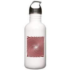 Red Peppermint Swirl and Shadows Water Bottle