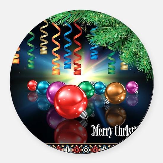 Merry Christmas Round Car Magnet