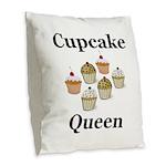 Cupcake Queen Burlap Throw Pillow