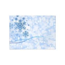 Blue Snowflake 5'x7'Area Rug