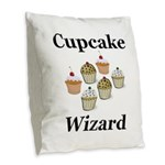 Cupcake Wizard Burlap Throw Pillow