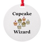 Cupcake Wizard Round Ornament