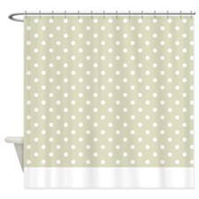 Tan With White Dots Shower Curtain