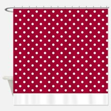 Red With White Dots Shower Curtain