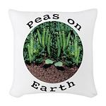 Peas On Earth Woven Throw Pillow