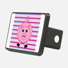 Pink Teal Striped Pig Hitch Cover