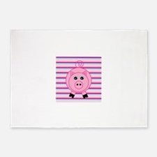 Pink Teal Striped Pig 5'x7'Area Rug