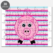 Pink Teal Striped Pig Puzzle