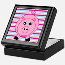 Pink Teal Striped Pig Keepsake Box