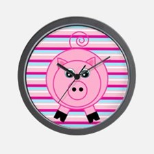 Pink Teal Striped Pig Wall Clock