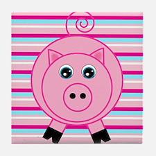Pink Teal Striped Pig Tile Coaster