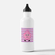 Pink Teal Striped Pig Water Bottle