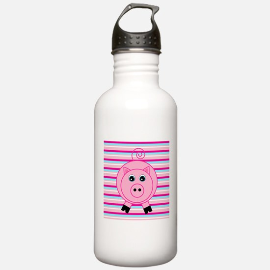 Pink Teal Striped Pig Water Bottle