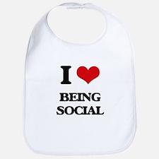 I love Being Social Bib