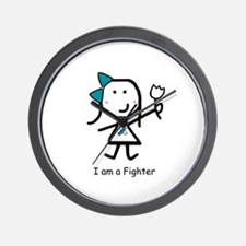 Teal & White - Fighter Wall Clock