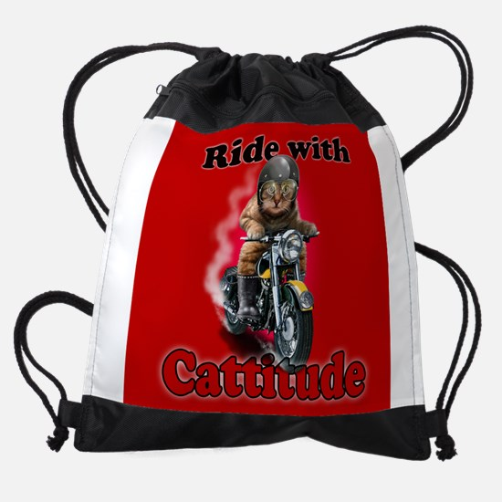 Ride with Cattitude Drawstring Bag