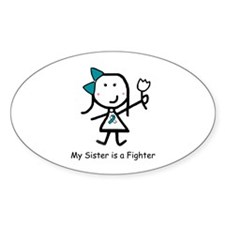 Teal & White - Sister Oval Decal
