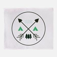 Camping Patch Throw Blanket