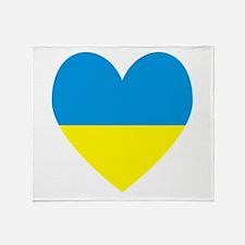 Ukrainian Flag Heart Throw Blanket