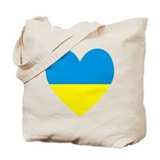 Ukrainian Flag Heart Tote Bag