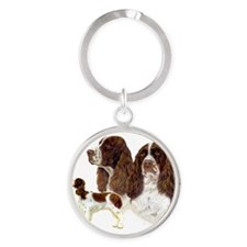 Cute English springer spaniel Round Keychain