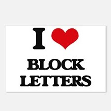 I Love Block Letters Postcards (Package of 8)
