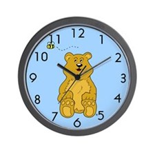 Bumble Bee and Baby Bear Cub Wall Clock