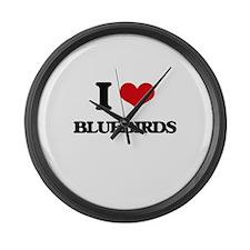 I Love Bluebirds Large Wall Clock