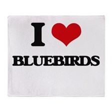 I Love Bluebirds Throw Blanket