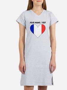 Custom France Flag Heart Women's Nightshirt