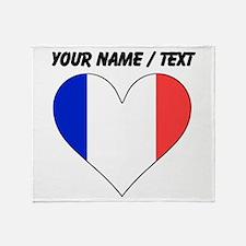 Custom France Flag Heart Throw Blanket