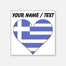 Custom Greece Flag Heart Sticker