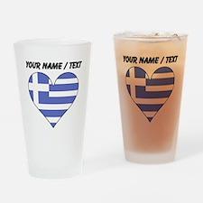Custom Greece Flag Heart Drinking Glass