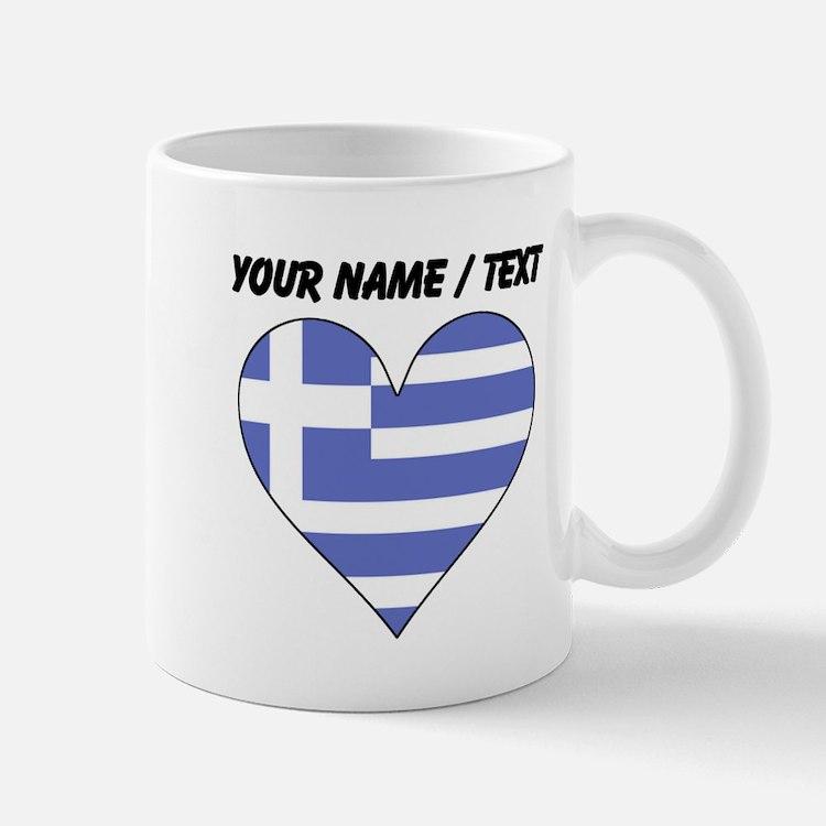 Custom Greece Flag Heart Mugs