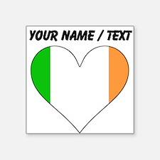 Custom Ireland Flag Heart Sticker