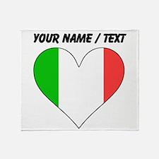 Custom Italy Flag Heart Throw Blanket