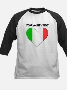 Custom Italy Flag Heart Baseball Jersey